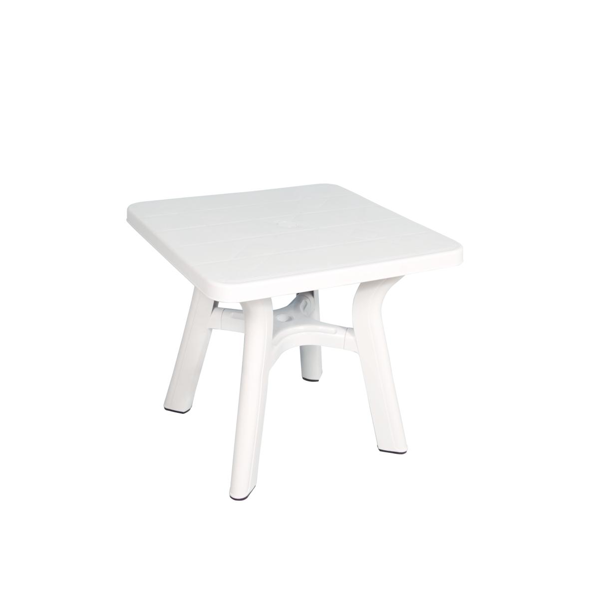 Table Carree De Jardin Blanche 80x80 Cm En Plastique