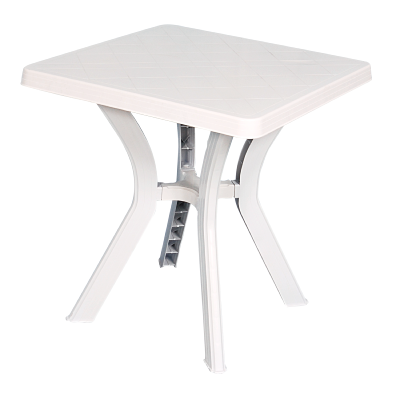 Table carrée de jardin blanche 70x70 cm en plastique