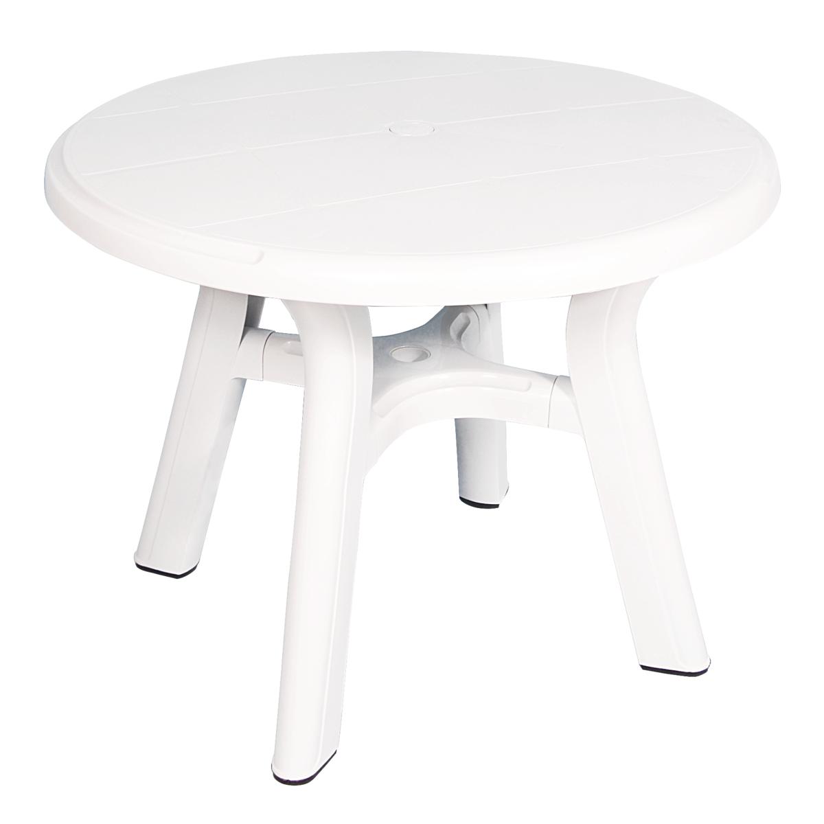 Table ronde de jardin en plastique - Diamètre 95 cm (Blanc)