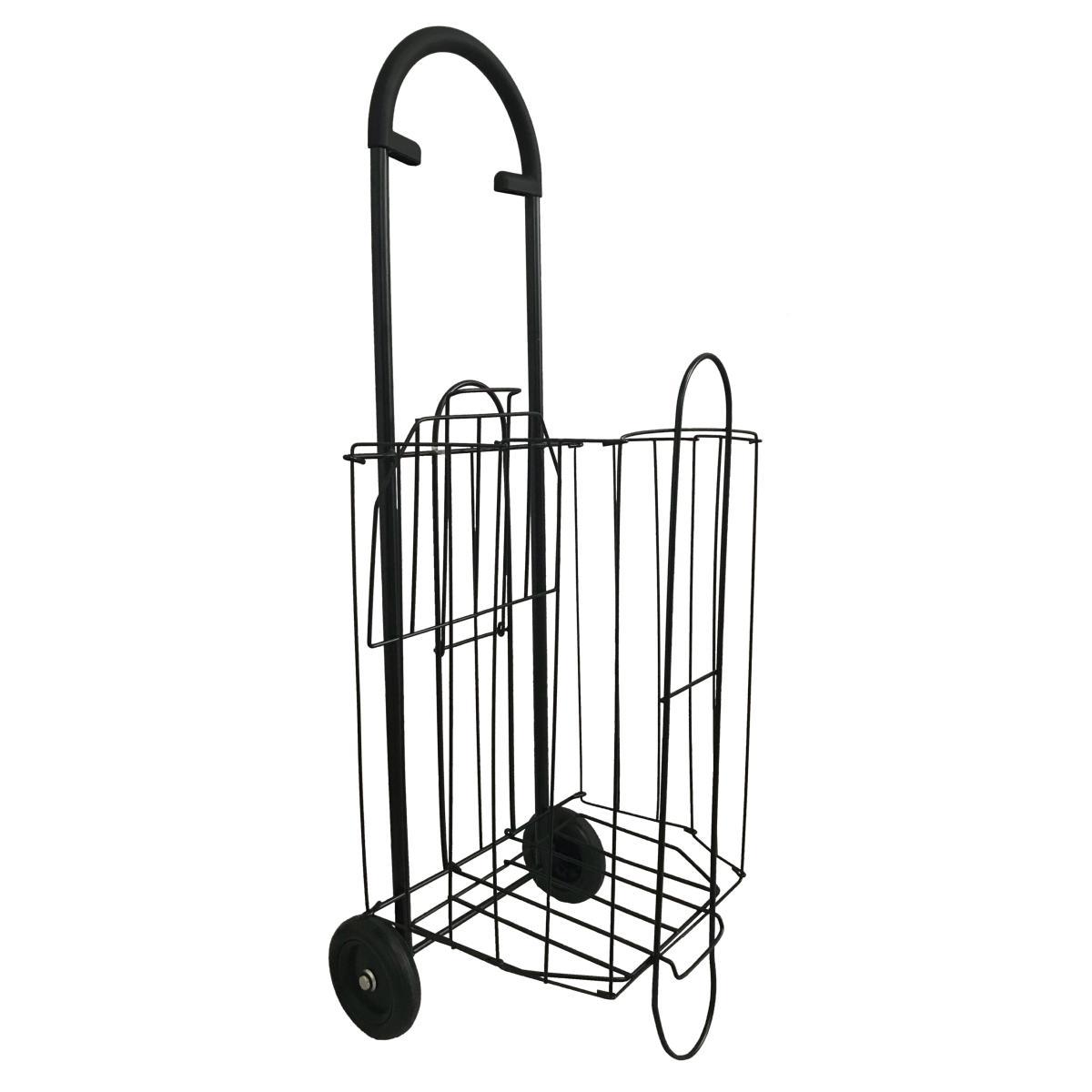 chariot de courses en m tal pliable 2 roues double niveaux sac de courses pliable offert. Black Bedroom Furniture Sets. Home Design Ideas