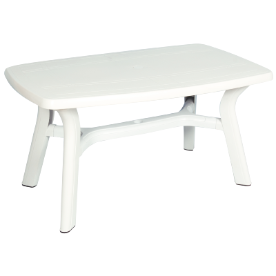 Table rectangulaire de jardin 140 x 85 cm (Blanc)