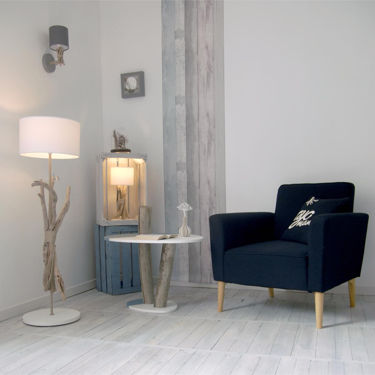 lampe applique murale bord de mer bois et galets fabriqu e la main en france blanc. Black Bedroom Furniture Sets. Home Design Ideas