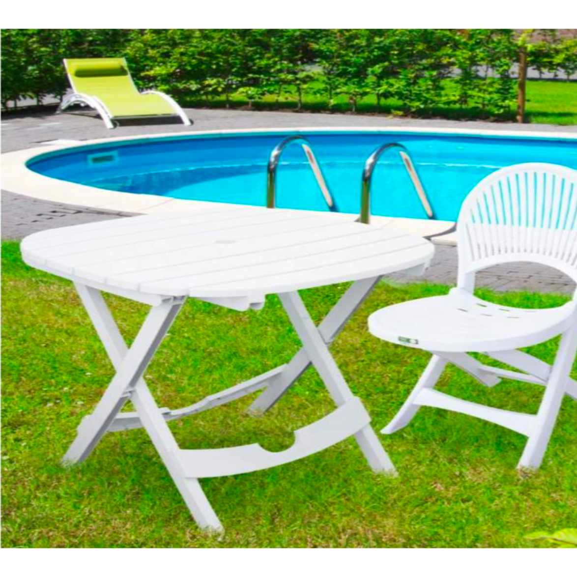 table de jardin blanche pliable lot avec 2 chaises. Black Bedroom Furniture Sets. Home Design Ideas